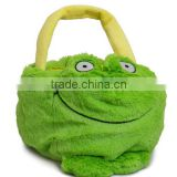 plush frog basket/plush baby toys frog storage box/custom plush animal shape basket