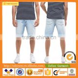 Wholesale Apparel Distressed Stretch Slim Bleach Wash Denim Jeans Shorts For Men