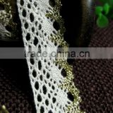 2cm 20mm Crochet Cotton Lace with golden yarn for underwear