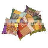 Patchwork Silk Kantha Sofa Cushion Cover Handmade Patchwork Kantha Pillow Cover