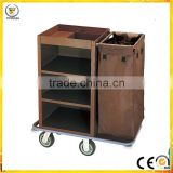 stainless steel like wood brown color hotel guest room service cart high quality cleaning trolley sign bag