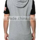 Blank sleeveless hoodies for men gym hoodie/100% cotton hoodie sleeveless gym hoodie white sleeveless hoodie