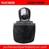 YUCHEN Car Shift Gear Knob With Black/Beige Leather Boot For Skoda Octavia II A5 MK2 2004-2010
