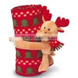 Christmas blanket with gift deer toy for Christmas,Polar fleece Baby blanket with reindeer