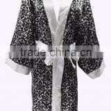 Chinese cheap silk satin short black and white paisley bath robe