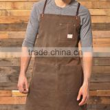 Waxed Canvas Apron With Leather Trim For Work                                                                         Quality Choice