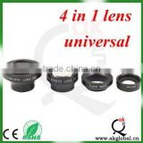 Wholesale high quality 4 in 1 lens with clip as a set fisheye+marco+wide+telephoto lens for iphone samsung nokia HTC