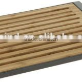 Bamboo Bread Chopping Cutting Board with Removable Crumb Catcher Holder, bamboo bread cutting board with plastic tray