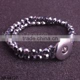Alibaba Website Fashion Jewelry Wholesale Snap Button Charm Stretch Crystal Bracelet Bangle