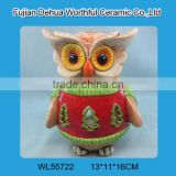 2016 new christmas items,ceramic owl christmas ornaments with led light                                                                                                         Supplier's Choice