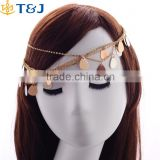 Girls silver&gold plating hair chain crystal metal head chain bride multilayer hair accessories
