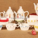new style lovely cartoon animal rabbit promotion gift ceramic coffee tea mug and kettle 3 in 1 set
