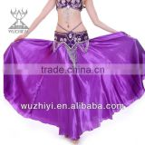 Purple Satin Belly Dance Skirt ,Arabic Belly Dance Skirt, Belly Dancing Performance Skirt