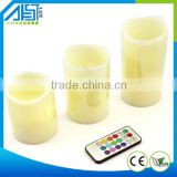 Set Of 3 Real Wax Color Changing Remote Led Candles Light