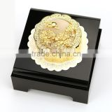 24K Gold Decorative Chinese Mooncake with rich and honored, being in full flower Chinese blessing hua kai fu gui