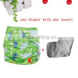 special cartoon printed cloth nappy cover for your lovely babies,one diaper with one 3-layer microfiber insert