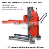 EHS Semi Electric Stacker With Tilted Pallet
