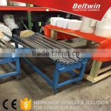 Rack for rolls of PVC PU conveyor belt material