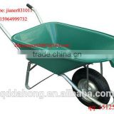Plastic Concrete Wheel Barrow WB5600 with Green Tray and Pneumatic Wheel