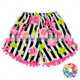 2016 New Arrival Cute Black White strip Flowers Fabric with hot pink Pom Pom Pom Shorts For Girls