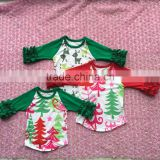 Wholesale boutique children's girl fall clothes tree print icing raglan shirt Christmas tops