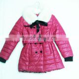 detachable fur collar kids leather coats for girls