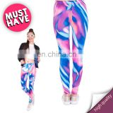 Holographic blue and pink stretch mix femme girl sexy printed print pants sport photo running hot tights leggings for women