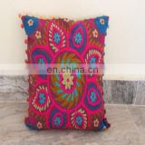 Pom Pom Vintage Suzani Cushion Cover Embroidered 16x16'' Indian Pillow Case
