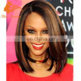7A Brazilian Glueless Cheap Full Lace Wigs With Highlights Short Bob Human Hair Wigs Straight Natural Black Highlights #30