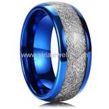 Meteorite Inlay blue tungsten jewelry mens engagement rings