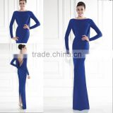 Latest Elegant Cowl Drape Royal Blue Evening Dress 2015 Backless Long Sleeve Evening Gown