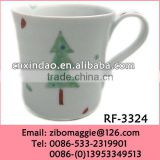 Flare Shape Popular Christmas Print White Promotion Reusable Ceramic Tea Cup for Gift