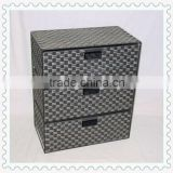 camping waterproof PE plastic hand-woven cheap storage cabinet with three drawers removable