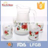 7PCS drinking glass water jug set/glass jug and cup set/glass water set