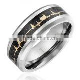 Titanium Wedding Band Engagement Ring, Yellow Gold-Plated Heart Beat over Black Carbon Fiber Inlay Band