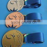personalize gold silver bronze sport medal with blue lanyard, souvenir gifts alloy medals