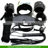 Black Bondage Set Kit Rope Ball Gag Cuffs Whip Collar Blindfold Adult Sexy Toy