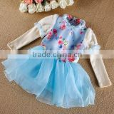2015 New Korean Kids Sweet Tutu Dress Flower Printed Girls Party Dress