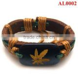Latest Wide leather bracelet AL0002 with woolen yarn and strings handmade a pendant of maple leaf patterns