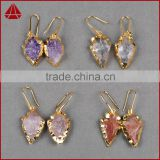 Wholesale natural amethyst rose quartz arrowhead earrings 24k gold dipped electroplated tiny stone earrings