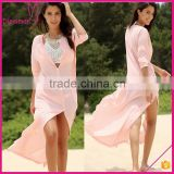 Solid Color Pockets Stand Neck Floor Length 3/4 Sleeve Summer Cover Up Beach Dress