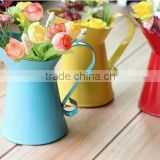 Metal flower vases for home decoration,Home flower pots planters vintage finish barrel coffee bucket with handle wedding decor