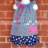 Baby girl boutique outfit children sets girl boutique short ruffle set baby chevron clothing set