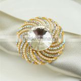 High quality gold silver alloy rhinestone napkin ring for wedding chair decoration