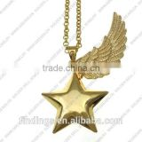 FN3291simple design Maternity Necklace, star bola charm with angel wing, meaningful pendant necklace