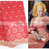 2016 Fashion Nigerian embroidery lace fabrics 100% cotton Aso ebi swiss voile lace white african lace fabrics