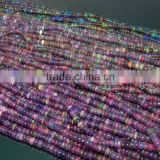Natural Ethiopian Black Opal Roundel Beads, Fire Opal Beads