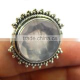 Natural Faceted Rose Quartz Beautiful ring 925 sterling silver jewelry wholesale JEWELRY EXPORTER
