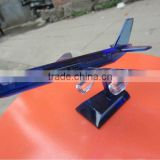 blue color crystal propeller-driven aircraft/airline/Boeing aeroplane for crystal transport models with engraved (R-1050