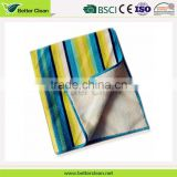Fleece plain dyed stripe for home glass wipe microfiber car cleaning towel